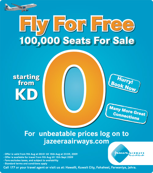 Jazeera 100,000 FREE Seats Offer