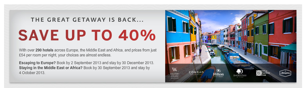 Hilton Up To 40 percent discount