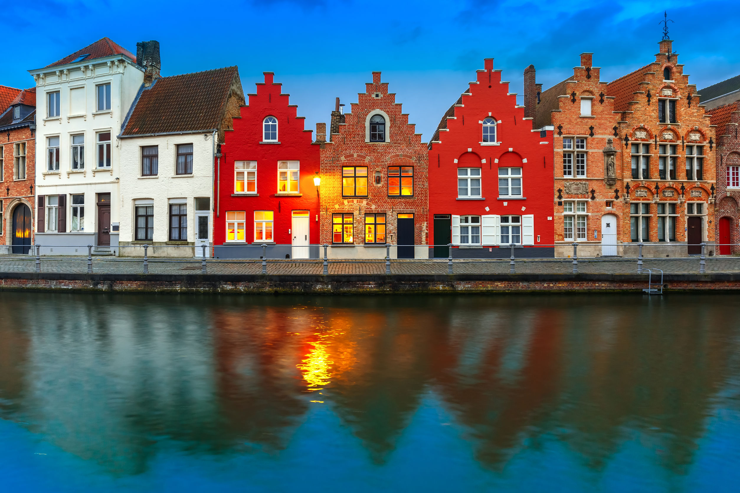 traditional houses Bruges Belgium